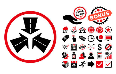 directions icon: Merge Directions icon with bonus clip art. Vector illustration style is flat iconic bicolor symbols, intensive red and black colors, white background. Illustration