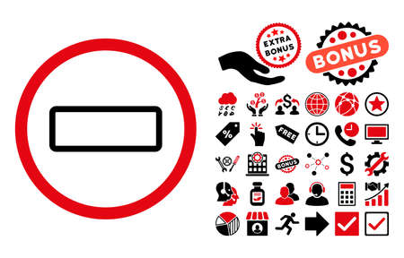 Minus icon with bonus symbols. Vector illustration style is flat iconic bicolor symbols, intensive red and black colors, white background. Illustration