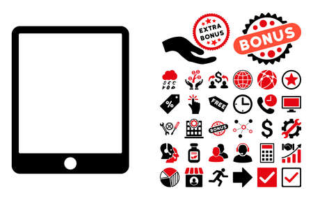 electronic organizer: Mobile Tablet icon with bonus pictures. Vector illustration style is flat iconic bicolor symbols, intensive red and black colors, white background.