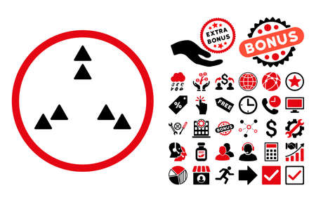 Move Out pictograph with bonus clip art. Vector illustration style is flat iconic bicolor symbols, intensive red and black colors, white background.