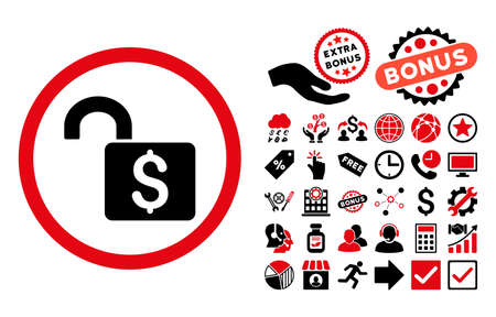 decrypt: Open Banking Lock icon with bonus design elements. Vector illustration style is flat iconic bicolor symbols, intensive red and black colors, white background. Illustration