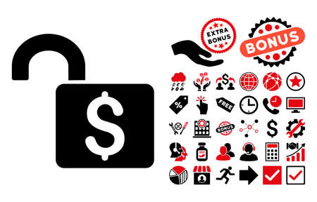 decrypt: Open Banking Lock pictograph with bonus pictures. Vector illustration style is flat iconic bicolor symbols, intensive red and black colors, white background.
