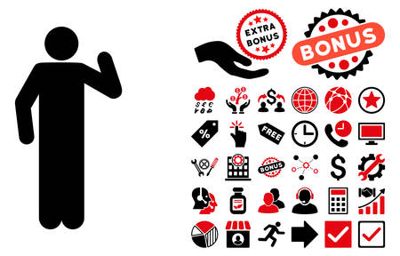 persona: Opinion Pose icon with bonus clip art. Vector illustration style is flat iconic bicolor symbols, intensive red and black colors, white background.