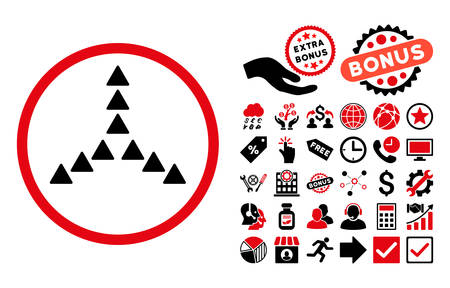 Outside Direction icon with bonus pictograph collection. Vector illustration style is flat iconic bicolor symbols, intensive red and black colors, white background. Illustration