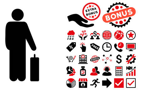 Passenger pictograph with bonus symbols. Vector illustration style is flat iconic bicolor symbols, intensive red and black colors, white background.