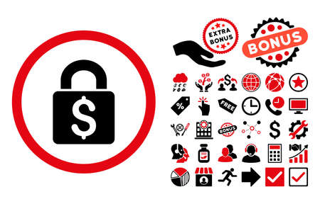 black and white lock: Pay Lock icon with bonus icon set. Vector illustration style is flat iconic bicolor symbols, intensive red and black colors, white background.