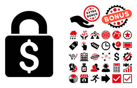 black and white lock: Pay Lock icon with bonus pictures. Vector illustration style is flat iconic bicolor symbols, intensive red and black colors, white background. Illustration