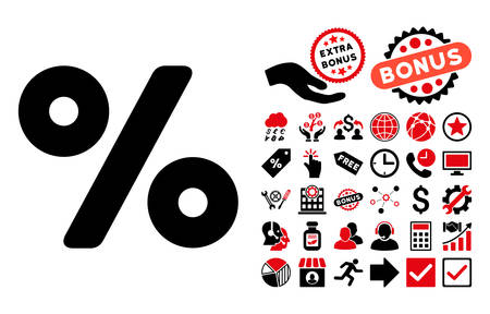 partial: Percent pictograph with bonus icon set. Vector illustration style is flat iconic bicolor symbols, intensive red and black colors, white background.