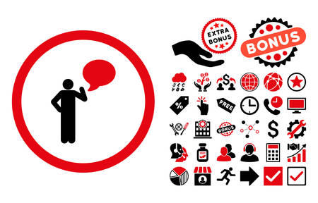 Person Idea icon with bonus symbols. Vector illustration style is flat iconic bicolor symbols, intensive red and black colors, white background. Illustration