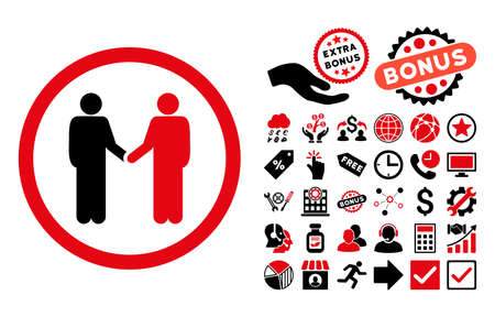 Persons Agreement pictograph with bonus clip art. Vector illustration style is flat iconic bicolor symbols, intensive red and black colors, white background.