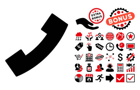 phone receiver: Phone Receiver pictograph with bonus clip art. Vector illustration style is flat iconic bicolor symbols, intensive red and black colors, white background.