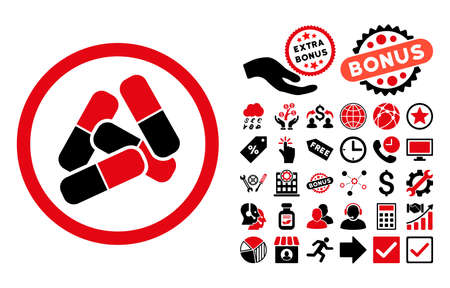 sedative: Pills icon with bonus pictogram. Vector illustration style is flat iconic bicolor symbols, intensive red and black colors, white background.