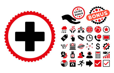 Plus pictograph with bonus design elements. Vector illustration style is flat iconic bicolor symbols, intensive red and black colors, white background.