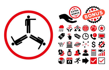 public figure: Pointing Men pictograph with bonus pictogram. Vector illustration style is flat iconic bicolor symbols, intensive red and black colors, white background. Illustration