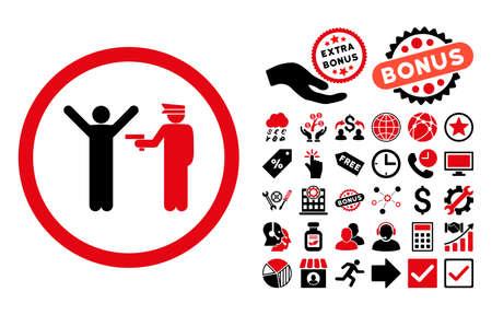 Police icône d'arrêt avec la collecte de bonus pictograph. Vector illustration style est plat symboles iconiques bicolor, les couleurs rouges et noirs intenses, fond blanc.