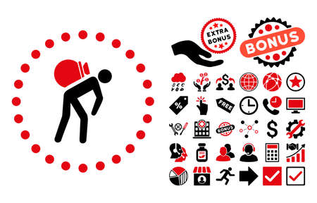 porter: Porter pictograph with bonus clip art. Vector illustration style is flat iconic bicolor symbols, intensive red and black colors, white background.