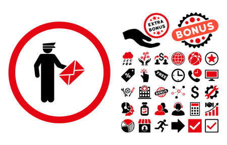 packet driver: Postman icon with bonus images. Vector illustration style is flat iconic bicolor symbols, intensive red and black colors, white background. Illustration