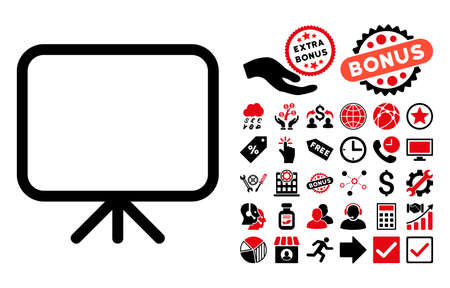 presentation screen: Presentation Screen pictograph with bonus pictures. Vector illustration style is flat iconic bicolor symbols, intensive red and black colors, white background.