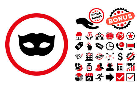 moods: Privacy Mask icon with bonus icon set. Vector illustration style is flat iconic bicolor symbols, intensive red and black colors, white background.