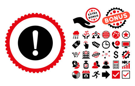 Problem pictograph with bonus elements. Vector illustration style is flat iconic bicolor symbols, intensive red and black colors, white background.
