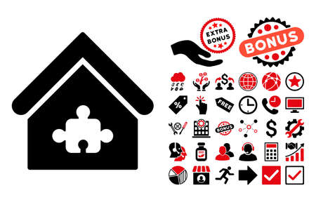 plugin: Puzzle Building icon with bonus clip art. Vector illustration style is flat iconic bicolor symbols, intensive red and black colors, white background.