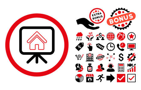 slideshow: Project Slideshow icon with bonus clip art. Vector illustration style is flat iconic bicolor symbols, intensive red and black colors, white background.