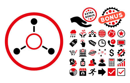 quark: Radial Structure icon with bonus pictograph collection. Vector illustration style is flat iconic bicolor symbols, intensive red and black colors, white background. Illustration