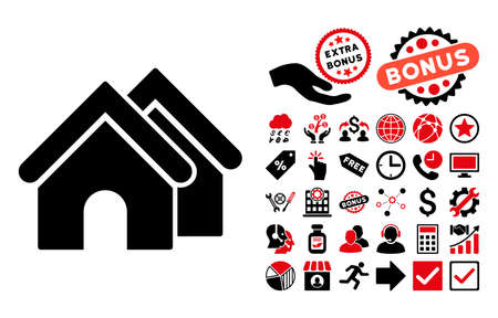 settlement: Real Estate pictograph with bonus icon set. Vector illustration style is flat iconic bicolor symbols, intensive red and black colors, white background. Illustration