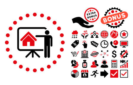 realtor: Realtor Presentation icon with bonus symbols. Vector illustration style is flat iconic bicolor symbols, intensive red and black colors, white background.