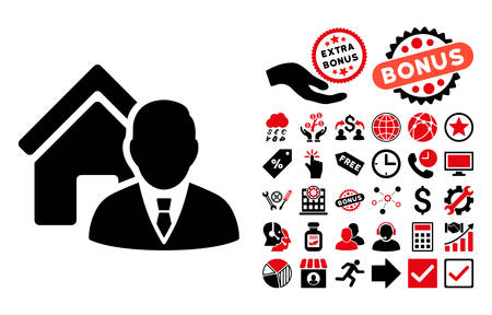 realtor: Realtor pictograph with bonus elements. Vector illustration style is flat iconic bicolor symbols, intensive red and black colors, white background.