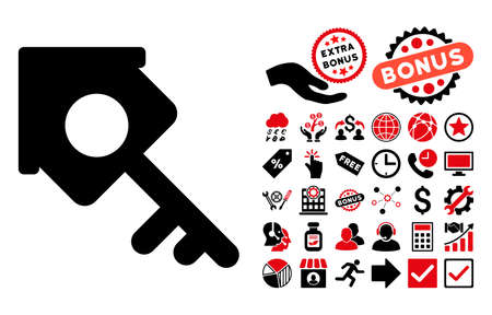 secured property: Realty Access pictograph with bonus design elements. Vector illustration style is flat iconic bicolor symbols, intensive red and black colors, white background. Illustration