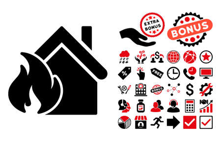 fiasco: Realty Fire Disaster icon with bonus images. Vector illustration style is flat iconic bicolor symbols, intensive red and black colors, white background. Illustration
