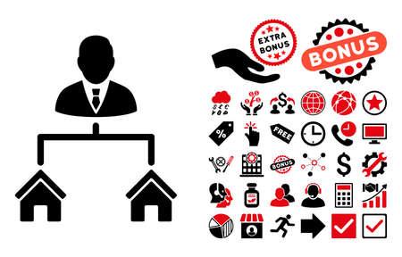 icono del Administrador de bienes inmuebles con el pictograma de bonificación. ilustración vectorial estilo es llano bicolor símbolos icónicos, colores rojo y negro, fondo blanco intensivos. Ilustración de vector