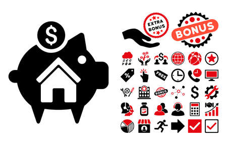 Realty Piggy Bank pictograph with bonus pictograph collection. Vector illustration style is flat iconic bicolor symbols, intensive red and black colors, white background.