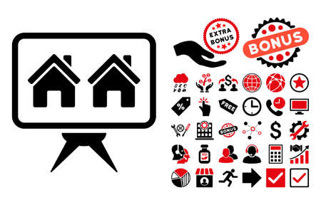 presentaion: Realty Project icon with bonus design elements. Vector illustration style is flat iconic bicolor symbols, intensive red and black colors, white background.