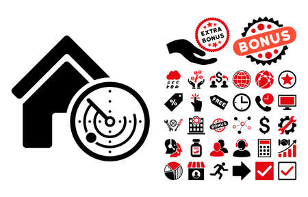 localization: Realty Radar pictograph with bonus images. Vector illustration style is flat iconic bicolor symbols, intensive red and black colors, white background. Illustration