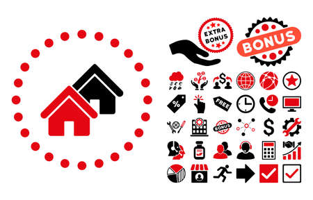 rural development: Realty pictograph with bonus symbols. Vector illustration style is flat iconic bicolor symbols, intensive red and black colors, white background.