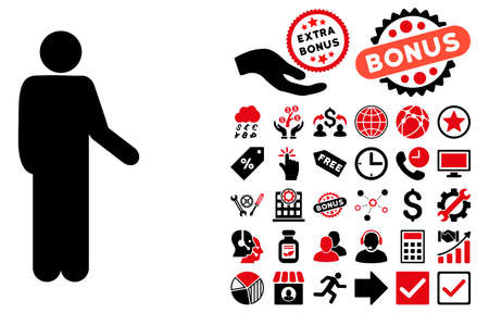 Relax Standing Pose pictograph with bonus design elements. Vector illustration style is flat iconic bicolor symbols, intensive red and black colors, white background.