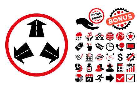 directions icon: Road Directions icon with bonus icon set. Vector illustration style is flat iconic bicolor symbols, intensive red and black colors, white background. Illustration