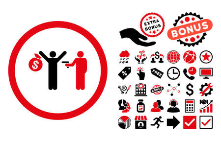 sergeant: Robbery pictograph with bonus pictogram. Vector illustration style is flat iconic bicolor symbols, intensive red and black colors, white background.