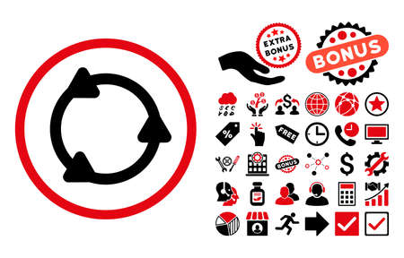 intensive: Rotate pictograph with bonus images. Vector illustration style is flat iconic bicolor symbols, intensive red and black colors, white background.