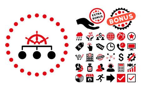 Regel pictograph met bonus design elementen. Vector illustratie stijl is vlak iconische bicolor symbolen, intensief rood en zwart kleuren, witte achtergrond. Stockfoto - 63009297