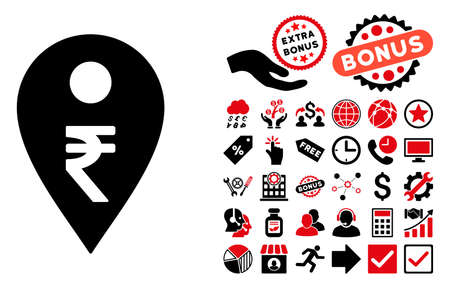 map marker: Rupee Map Marker pictograph with bonus icon set. Vector illustration style is flat iconic bicolor symbols, intensive red and black colors, white background.
