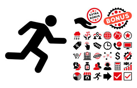 depart: Running Man icon with bonus symbols. Vector illustration style is flat iconic bicolor symbols, intensive red and black colors, white background.