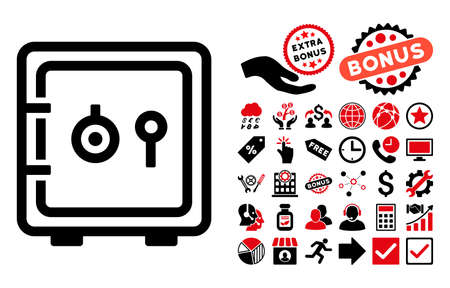 guard box: Safe pictograph with bonus design elements. Vector illustration style is flat iconic bicolor symbols, intensive red and black colors, white background. Illustration