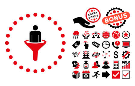 Sales Funnel icon with bonus images. Vector illustration style is flat iconic bicolor symbols, intensive red and black colors, white background.