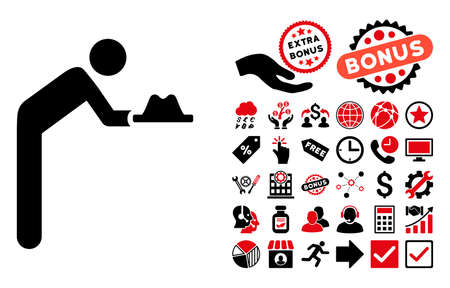 servant: Servant With Hat icon with bonus pictograph collection. Vector illustration style is flat iconic bicolor symbols, intensive red and black colors, white background. Illustration