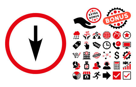 Sharp Down Arrow pictograph with bonus pictogram. Vector illustration style is flat iconic bicolor symbols, intensive red and black colors, white background. Illustration