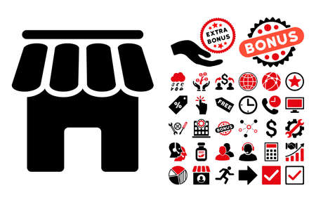 webshop: Shop Building icon with bonus pictograph collection. Vector illustration style is flat iconic bicolor symbols, intensive red and black colors, white background. Illustration