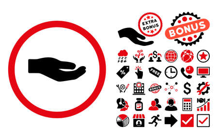 proposition: Share Hand icon with bonus clip art. Vector illustration style is flat iconic bicolor symbols, intensive red and black colors, white background.